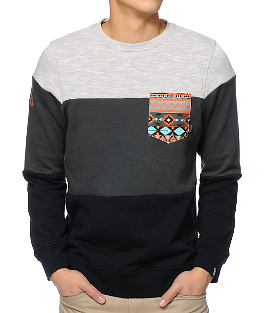 Palmetto Charcoal & Black Pocket Crew Neck Sweatshirt