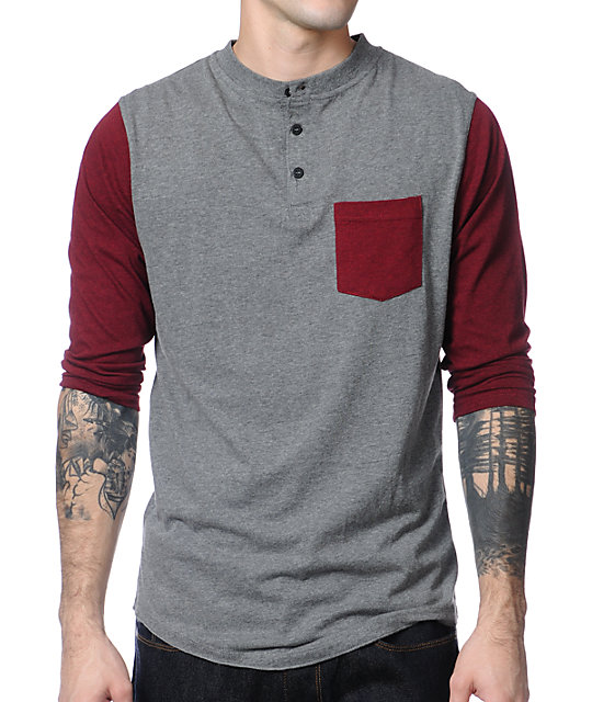 Dravus Pickpocket Grey & Maroon Henley Baseball T-Shirt