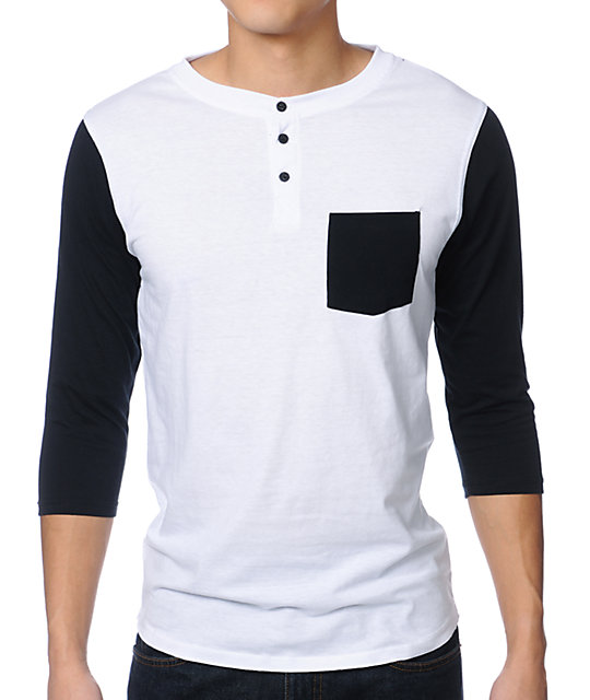 Dravus Pickpocket White & Black Henley Baseball T-Shirt