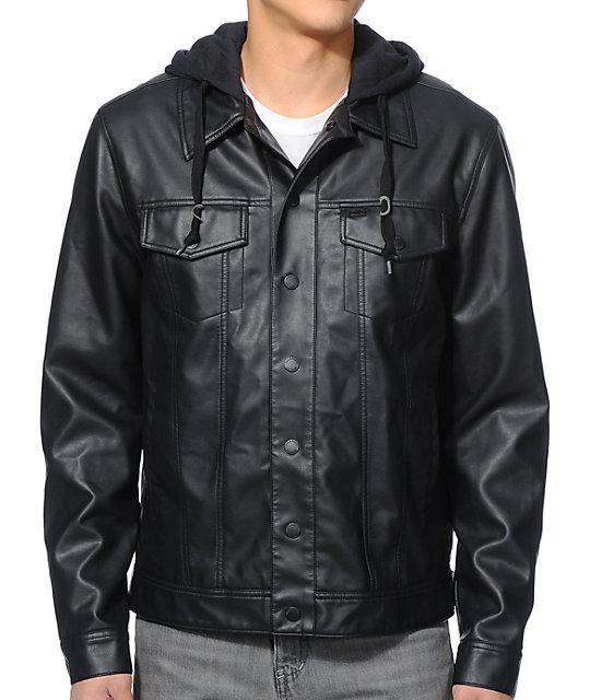 Dravus Pratt Black Faux Leather Hooded Jacket