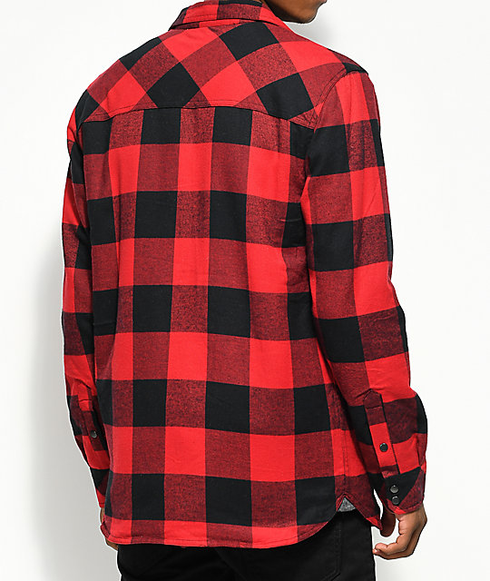 dravus rae red black buffalo plaid sherpa flannel shirt
