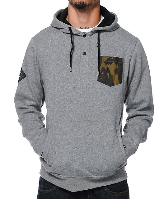 Dravus Regiment Grey Camo Pocket Pullover Henley Hoodie | Zumiez