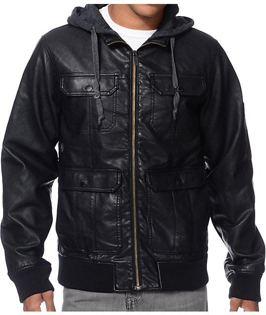 Dravus Revolt Black Faux Leather Hooded Bomber Jacket | Zumiez