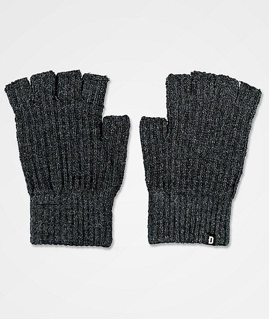 Dravus Ribless Charcoal Fingerless Knit Gloves