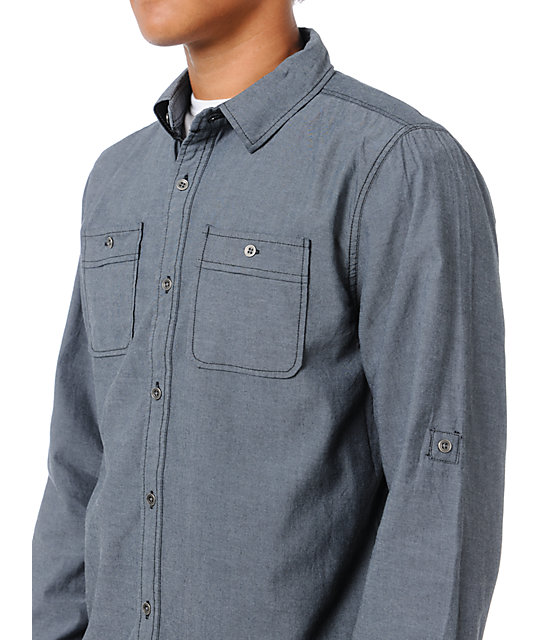 Dravus Ruffian Dark Grey Button Up Shirt