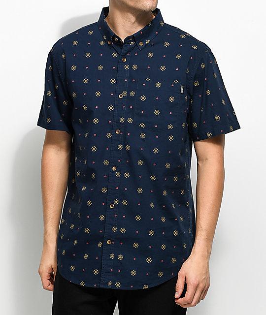 Dravus Sam Navy, Gold & Burgundy Printed Woven Button Up Shirt
