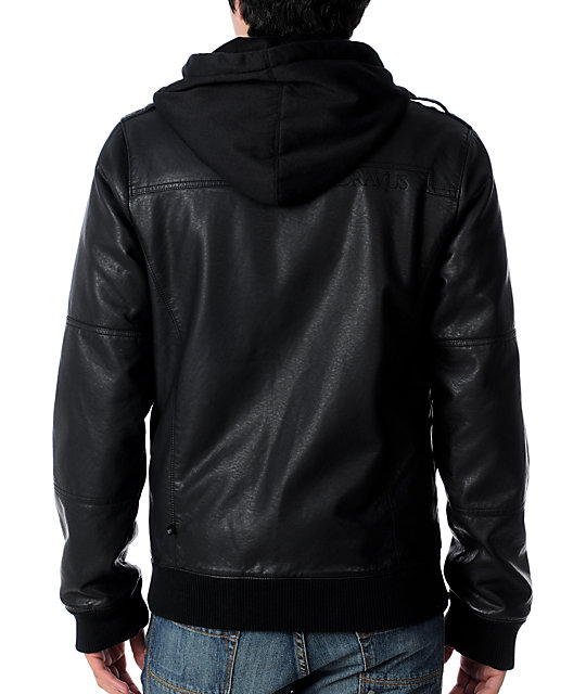 Dravus Scapegoat Black Faux Leather Mens Jacket