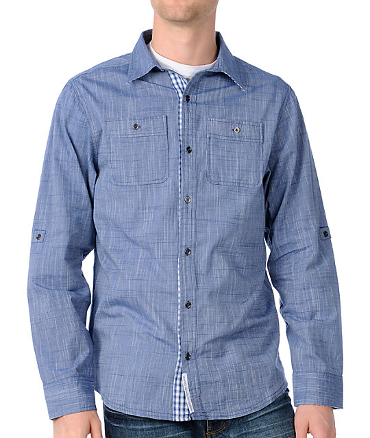 Dravus Sequel Light Blue Long Sleeve Woven Shirt