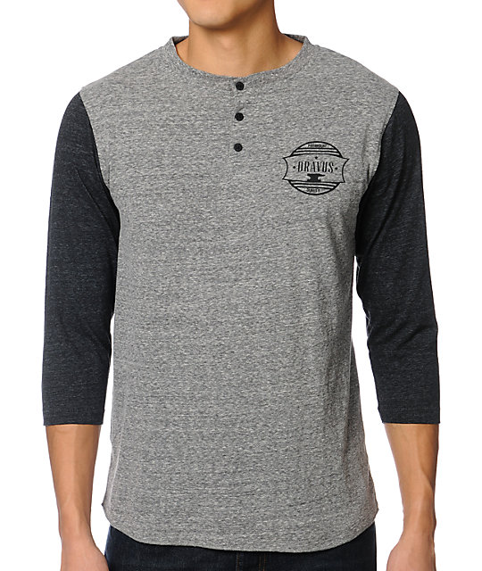 Dravus Shop Grey Henley Baseball T-Shirt
