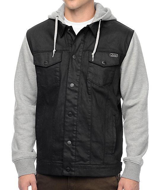 dravus sloaner black heather grey denim vest hoodie at. Black Bedroom Furniture Sets. Home Design Ideas