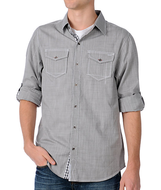 Dravus Snare Grey Long Sleeve Woven Shirt