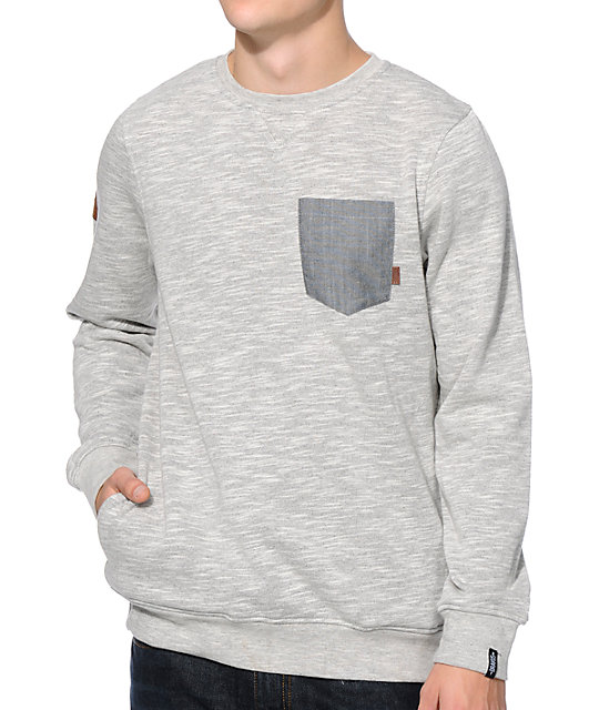 Dravus Steady Grey Space Dye Pocket Crew Neck Sweatshirt