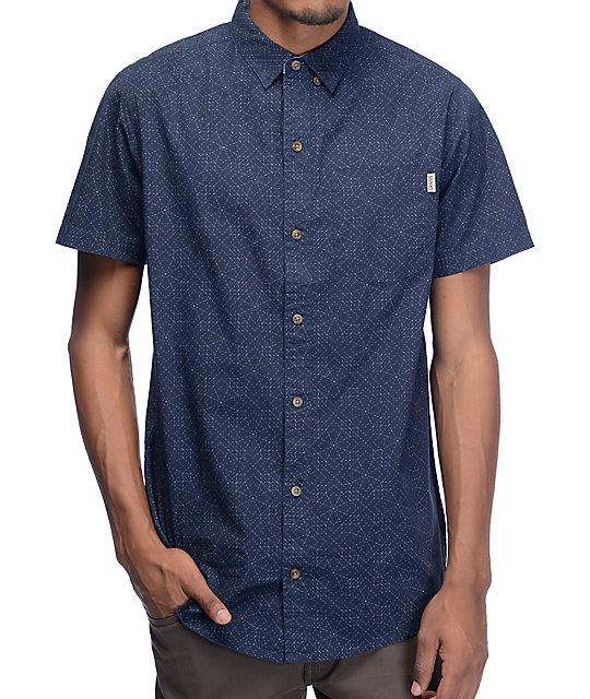 Dravus Stitched Print Navy Button Up Shirt