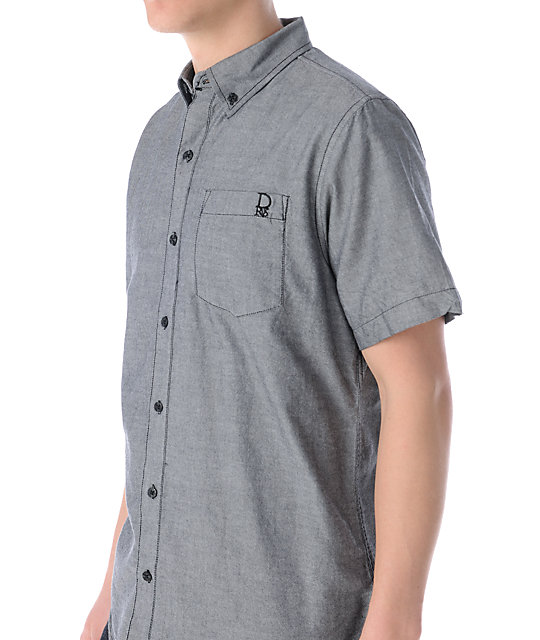 Dravus Stumble Inn Grey Short Sleeve Button Up Shirt