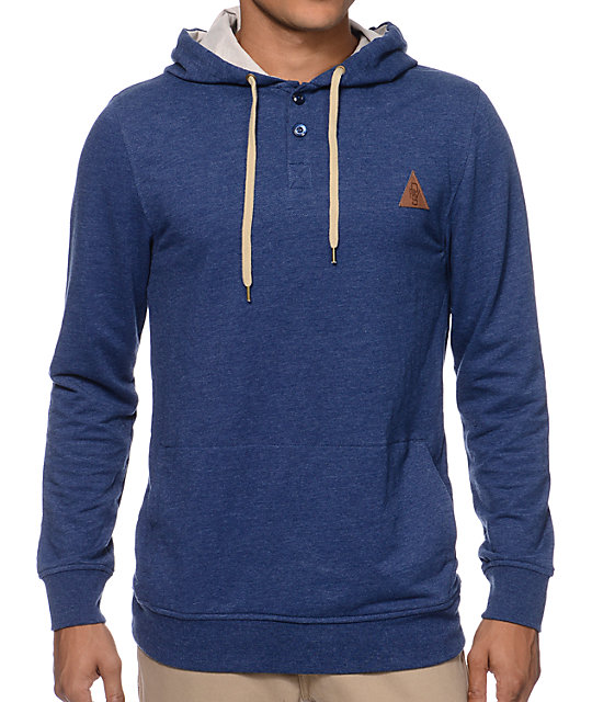 Dravus The Getaway Navy Hooded Henley Shirt