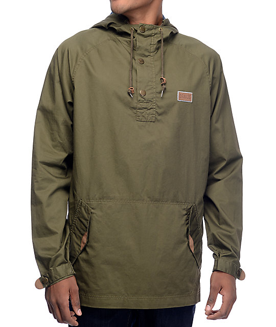 Dravus Timber Olive Pullover Anorak Jacket