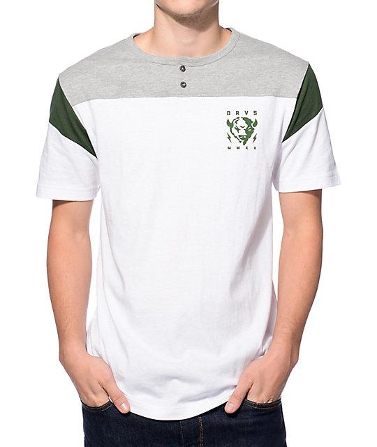Dravus Treeline White, Grey, and Green Henley T-Shirt