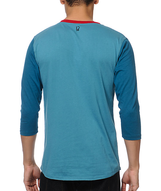 Dravus Trifecta Turquoise Long Sleeve Henley Knit Shirt
