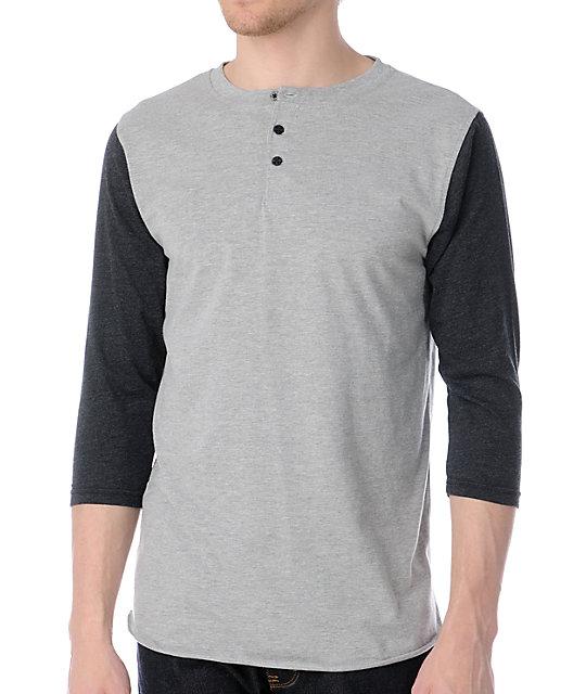 Dravus Turf Grey & Charcoal Henley Baseball T-Shirt