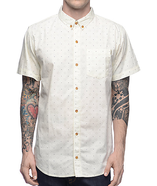 Dravus Vanilla Natural Foulard Button Up Shirt