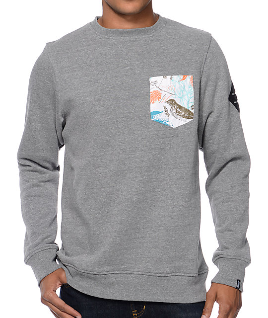 Variant Charcoal Floral Pocket Crew Neck Sweatshirt