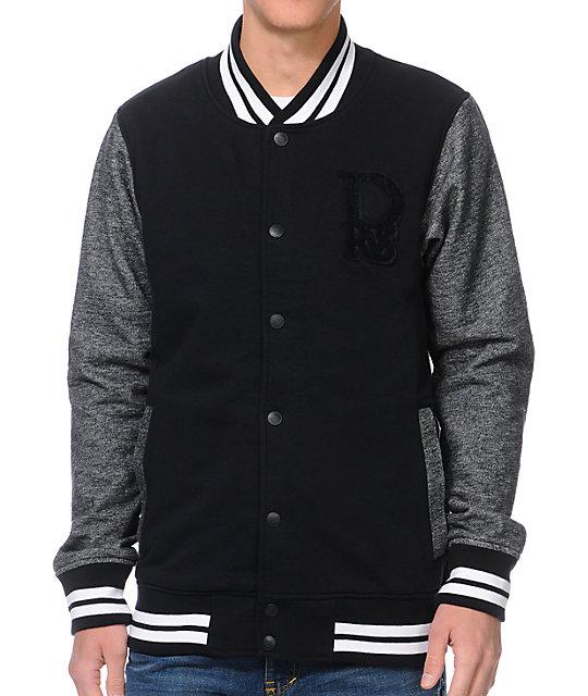Dravus Vaughn Black & Charcoal Fleece Varsity Jacket