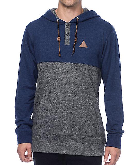 Dravus Wherever U Go Navy & Grey Hooded Henley Long Sleeve T-Shirt