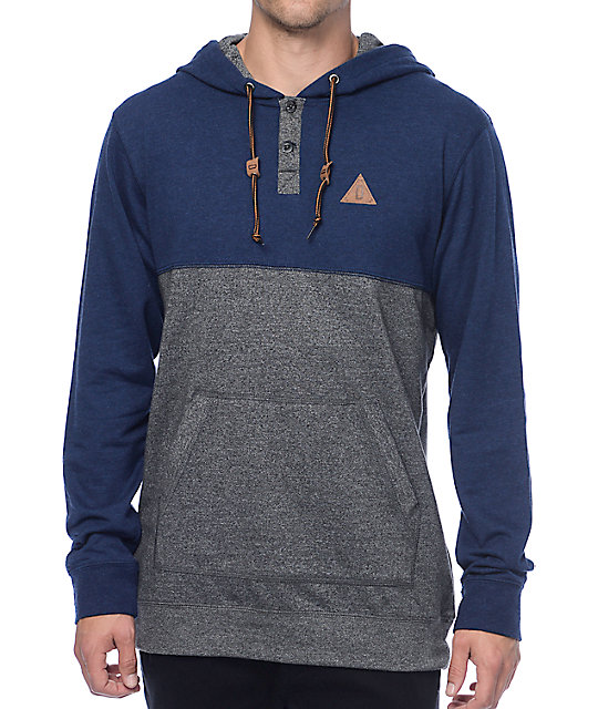 Wherever U Go Navy & Grey Hooded Henley Long Sleeve T-Shirt