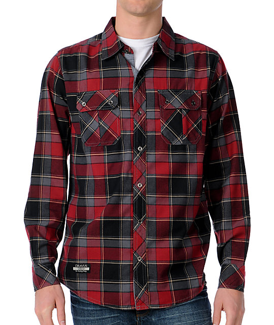 Dravus x Casual Poacher Red Long Sleeve Woven Shirt