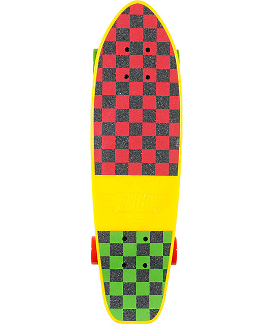 "Dusters Mighty 25""  Rasta Plastic Cruiser Skateboard"