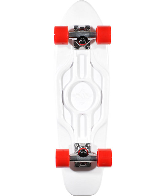 "Dusters Mighty 25""  White & Red Plastic Cruiser Skateboard"