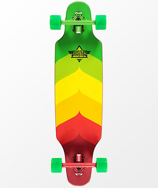 "Dusters Mini Wake 32"" Rasta Drop Through Longboard Complete"