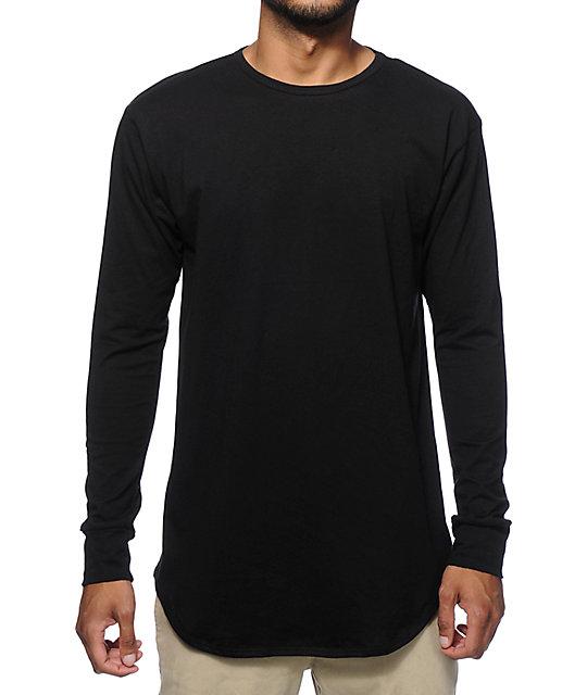 Elongated Basic Drop Tail Long Sleeve T-Shirt