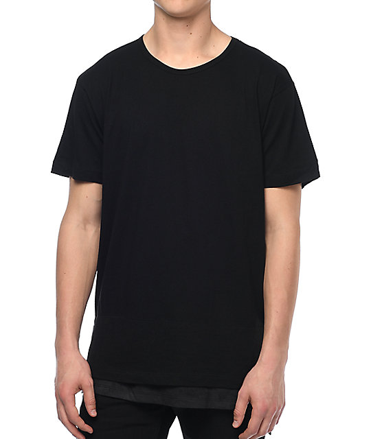 Eptm faux layer sq bottom black elongated t shirt zumiez for Model black t shirt
