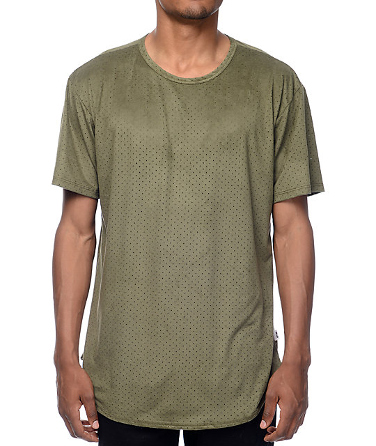 EPTM. Perforated Suede Elongated Olive T-Shirt