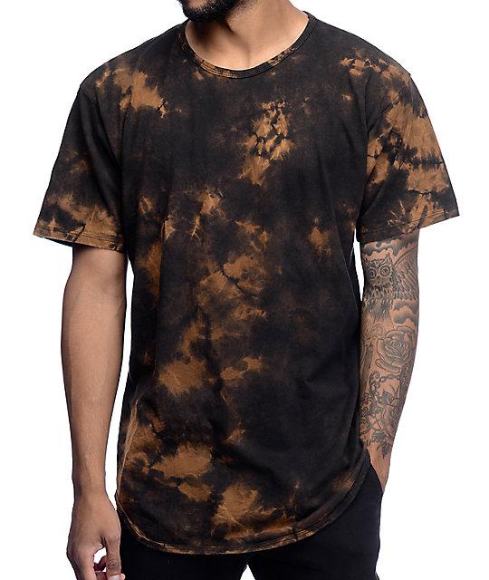 Eptm splatter bleach og black elongated t shirt zumiez for How to bleach designs into shirts