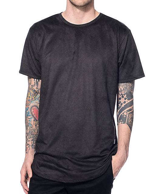 EPTM. Suede Elongated Black Long T-Shirt at Zumiez : PDP