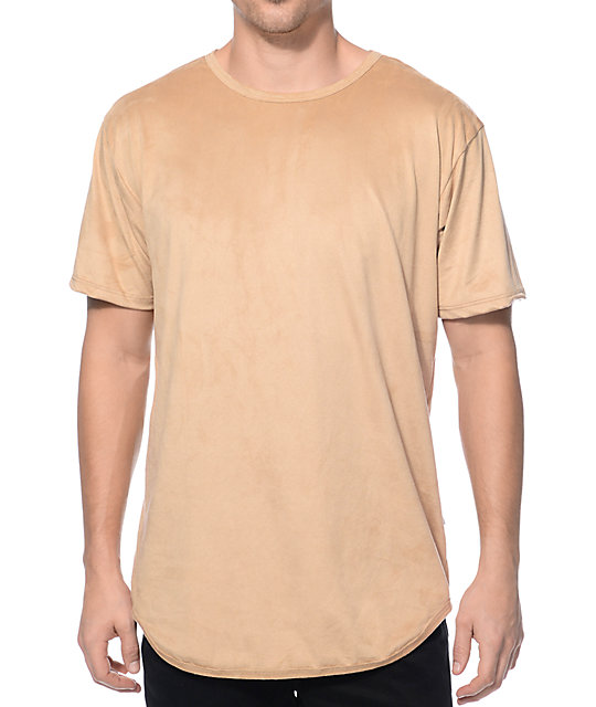 Suede Elongated Tan Long T-Shirt