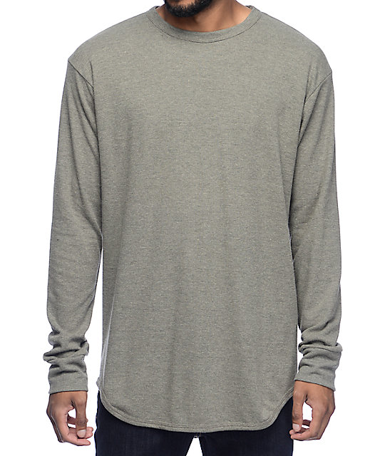 Eptm thermal olive elongated long sleeve t shirt for Thermal t shirt long sleeve