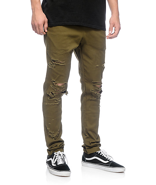 EPTM. Thrashed Olive Green Twill Pants at Zumiez : PDP