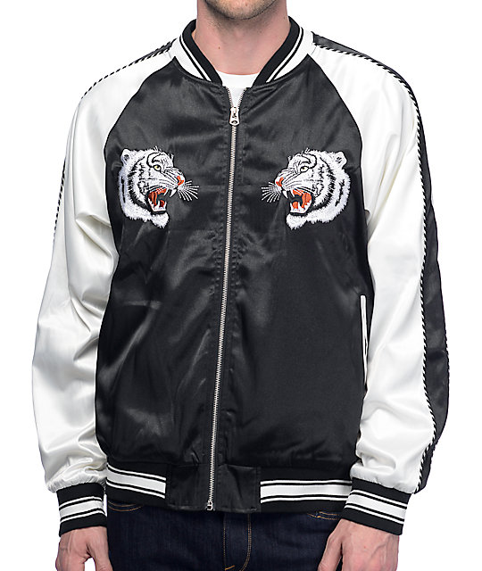 Eptm White Tiger Black Amp White Souvenir Jacket Zumiez