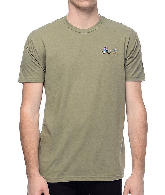 EVERYBODYSKATES Chase Olive Embroidered T-Shirt