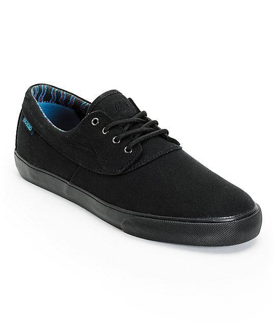 earl sweatshirt x lakai camby all black canvas skate shoes