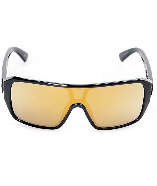 Electric Blast Shield Black & Gold Chrome Sunglasses