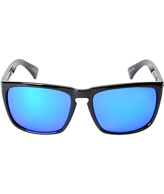 Electric Knoxville XL Black Gloss & Blue Chrome Sunglasses