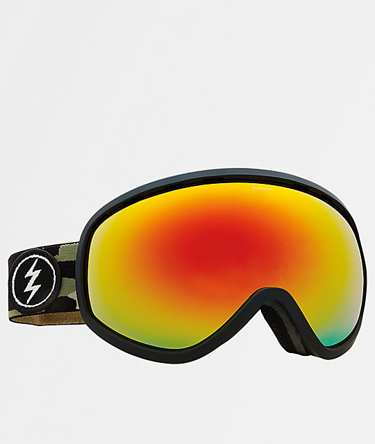 Electric Masher Camo & Red Chrome Snowboard Goggles