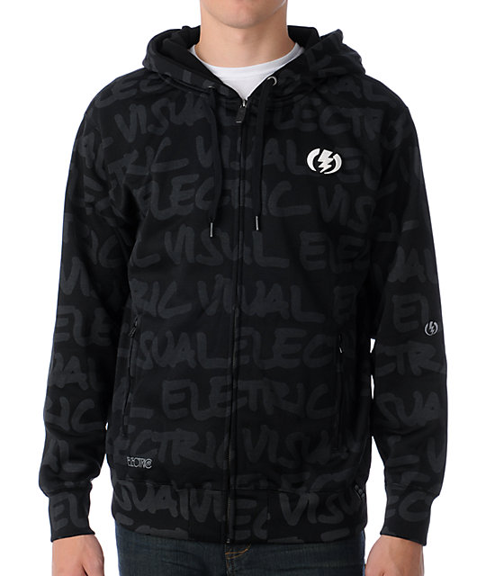 Electric Sharp Script Black Tech Fleece Jacket