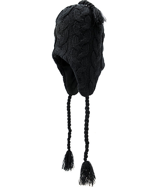 Electric Transmission 2 Black Earflap Beanie