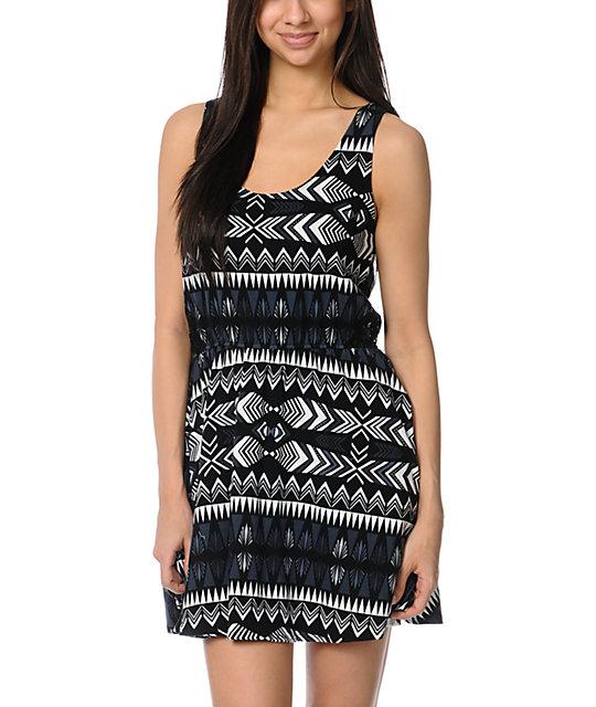 Element Ashley Lace Inset Black Tribal Print Dress