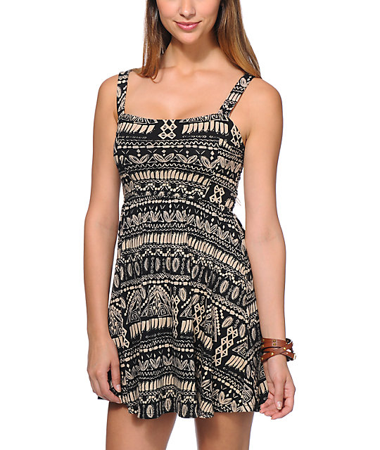 Element Beaumont Black Tribal Print Dress